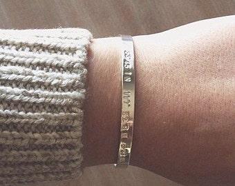 Coordinate bracelet, coordinate cuff, silver coordinate bracelet, sterling silver coordinate cuff, coordinates bangle, coord