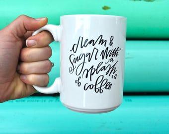 cream & sugar with a splash of cream coffee mug // funny cute coffee cup // teacher gift // mother's day gift // birthday present