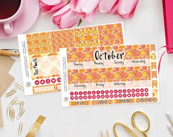 Autumn Leaves Erin Condren Monthly Planner Sticker Kit, Any Month and Sunday or Monday Start, Fall, Orange, Red, ECLP, Life Planner