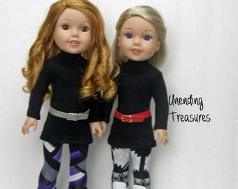 14 inch doll clothes made to fit like wellie wishers doll clothes black turtleneck tunic top aztec or purple/gray leggings