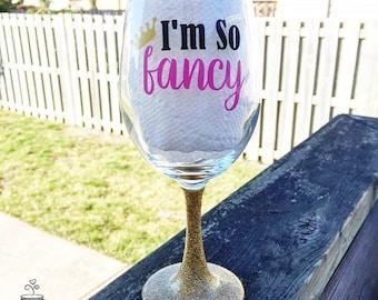 I'm So Fancy //Glitter Dipped Wine Glass