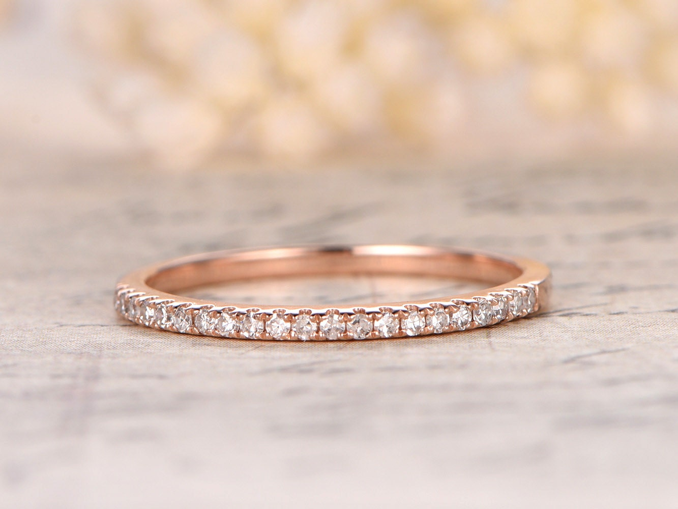Diamond Wedding Band Half Eternity Ring Solid 14K Rose Gold