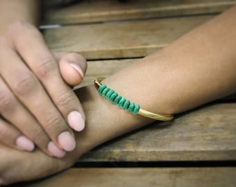 SUMMER SALE - half bangle,beaded bracelet,turquoise bracelet,gold bangle,tube bracelet,handmade bracelet,December birthstone brace