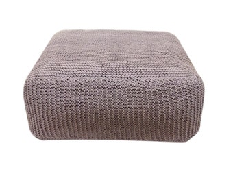 Handmade Knitted Floor Cushion   Ashes Of Roses   Hand Knit Floor Pillow Pouf Ottoman Footstool