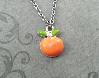 Orange Necklace VERY SMALL Orange Jewelry Enamel Orange Pendant Necklace Orange Charm Necklace Florida Necklace Fruit Jewelry Food Necklace