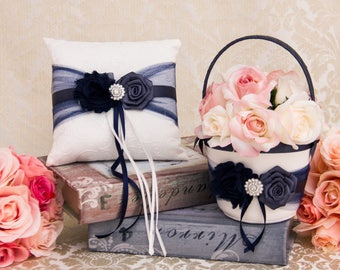 Navy and Pewter Ring Pillow Flower Girl Basket, Wedding Ring Pillow, Petal Basket in Navy and Pewter