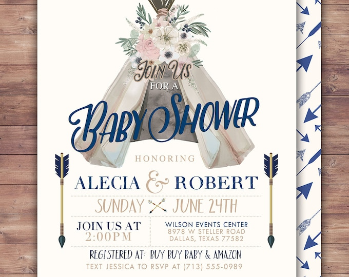 TEEPEE Baby Shower Invitation, Indian Baby shower Invite, aztec baby shower invite,boy, invitation, gender reveal, pow wow, BOHO, Tribal