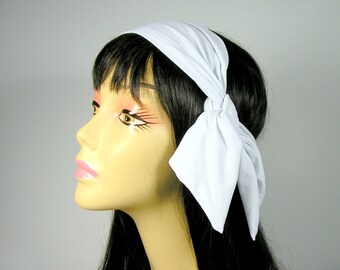 White Lycra Bandana Spandex Bandana Tennis Head Scarves Lycra Head Scarves Lycra Headscarf 50s Neck Scarves Head Scarves Retro  Neck Scarves