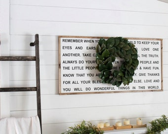 Remember when you go into the world...| Framed Wood Sign | Farmhouse Decor