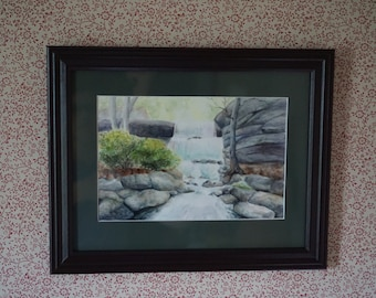 Bilger's Rocks Waterfall Watercolor Giclee Print, Clearfield PA Curwensville PA Clearfield County