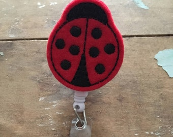 Ladybug ID badge reel holder retractable clip