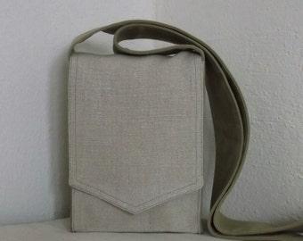 Natural Linen Mini Messenger Bag