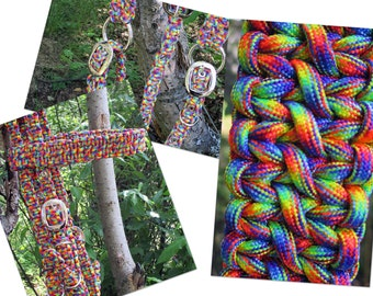Hippie Multicolor Horse Tack Paracord Set Head Stall Breast Collar Wither Strap