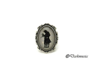 Ring, cabochon, Edward Scissorhands, adjustable, goth, gothic, Tim Burton