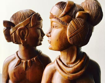 Man & Woman Wood Head Bust