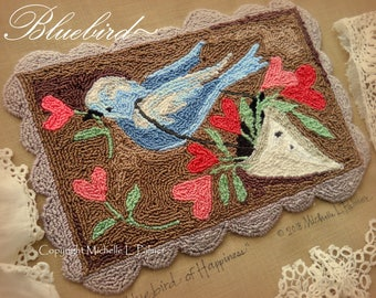 Punch Needle Embroidery DIGITAL Jpeg PDF PATTERN Michelle Palmer Bluebird Blue Bird of Happiness Valentine May Day Hearts Painting w/Threads