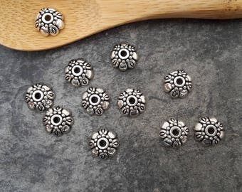 20 pcs, caps, bead caps flower end caps for beads, silver, 9 x 3 mm