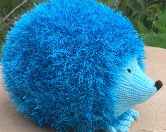 Hand Knitted Sparkly Woollen Hedgehog Soft Toy ( ALL proceeds to charity )