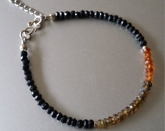 Faceted Tundra Sapphire and Black Spinel BRACELET with Sterling Extender Chain and Ball Charm