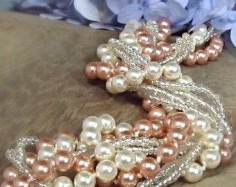 Peach bridesmaid jewelry, Chunky bridesmaid necklace, Chunky pearl necklace, Peach wedding jewelry, Bridal party gifts, Peach pearl jewelry