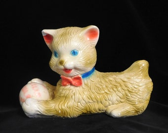 Chalk ware kitten with ball--carnival prize from the 1940's