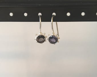 Iolite and silver earring
