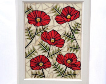 """Red Stained Glass Poppy Mosaic Panel Red Poppy Stained Glass Panel Glass Mosaic Poppy Home Decor Window Hanging Red Poppies 15"""" x 19"""""""