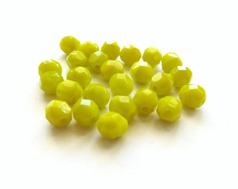 Chartreuse Yellow-Green Faceted Czech Glass Round Beads, 6mm - 25 pieces