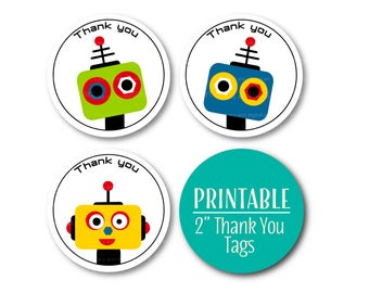 Robot Party Thank you Circles, Robot Party Printables,  Thanks a Bot Printable 2 inch Party Circles, Robot Party Decor 1120