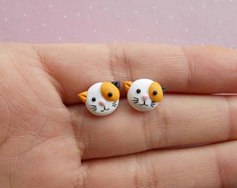 Cat Earrings - Cat Studs - Cat Jewellery - Calico Cat Earrings - Cat Jewelry - Cat Earrings Studs - Mothers Day Gift