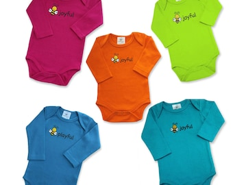Long Sleeve Organic Cotton Bodysuit, Screen Printed 2 Sides, Front - BEE JOYFUL, BEE on Back, Various Colors, Size 3-6 Month and 6-12 Month