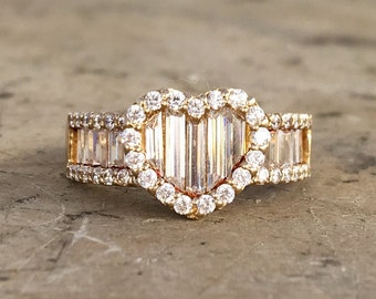 14k Yellow Gold Heart Ring / CZ's