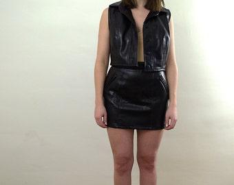 Black Vegan Leather Skirt Set/ Black Vegan Leather Vest And Skirt/ Black Vegan Leather/ Black Pleather Vest And Skirt/ Black Pleather Set