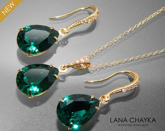 Emerald Green Crystal Jewelry Set Emerald Gold Earrings&Necklace Set Swarovski Emerald Rhinestone Jewelry Set Wedding Green Jewelry Sets