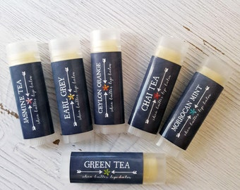 Luscious Tea Scented Lip Balm Set of 6//Shea Butter Lip Balm // Natural Lip Balm // FREE SHIPPING // Office Gift // Gift Set