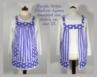 Ultra Violet Pinafore Apron, no tie apron, loose fitting smock apron, all day apron, made-to-order XS to Plus Size, purple stripes & dots