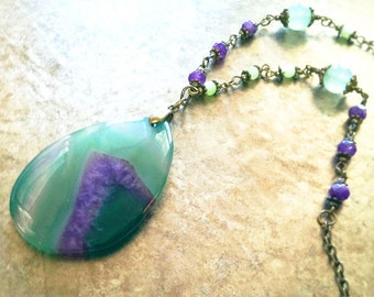 Green-Purple Agate Teardrop Necklace / Stone Pendant Necklace / Stone Necklace / Agate Necklace / Stone Bead Necklace