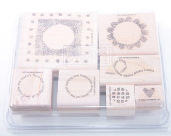 Stampin Up, Happy, Circles, Happiness, Wishes, Flower, Heart, Vintage Stamp Set, Scrapbooking Card Making In a box ~ Sir Stampinton ~ 170515