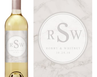 Monogram Wine Labels - Wedding Wine Labels - Waterproof Labels - Wedding Favor Labels - Custom Wine Label - Wine Bottle Labels
