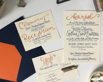 Navy and Orange Wedding Invitation Suite . Navy and Orange Wedding Invite . Calligraphy Wedding Invitation