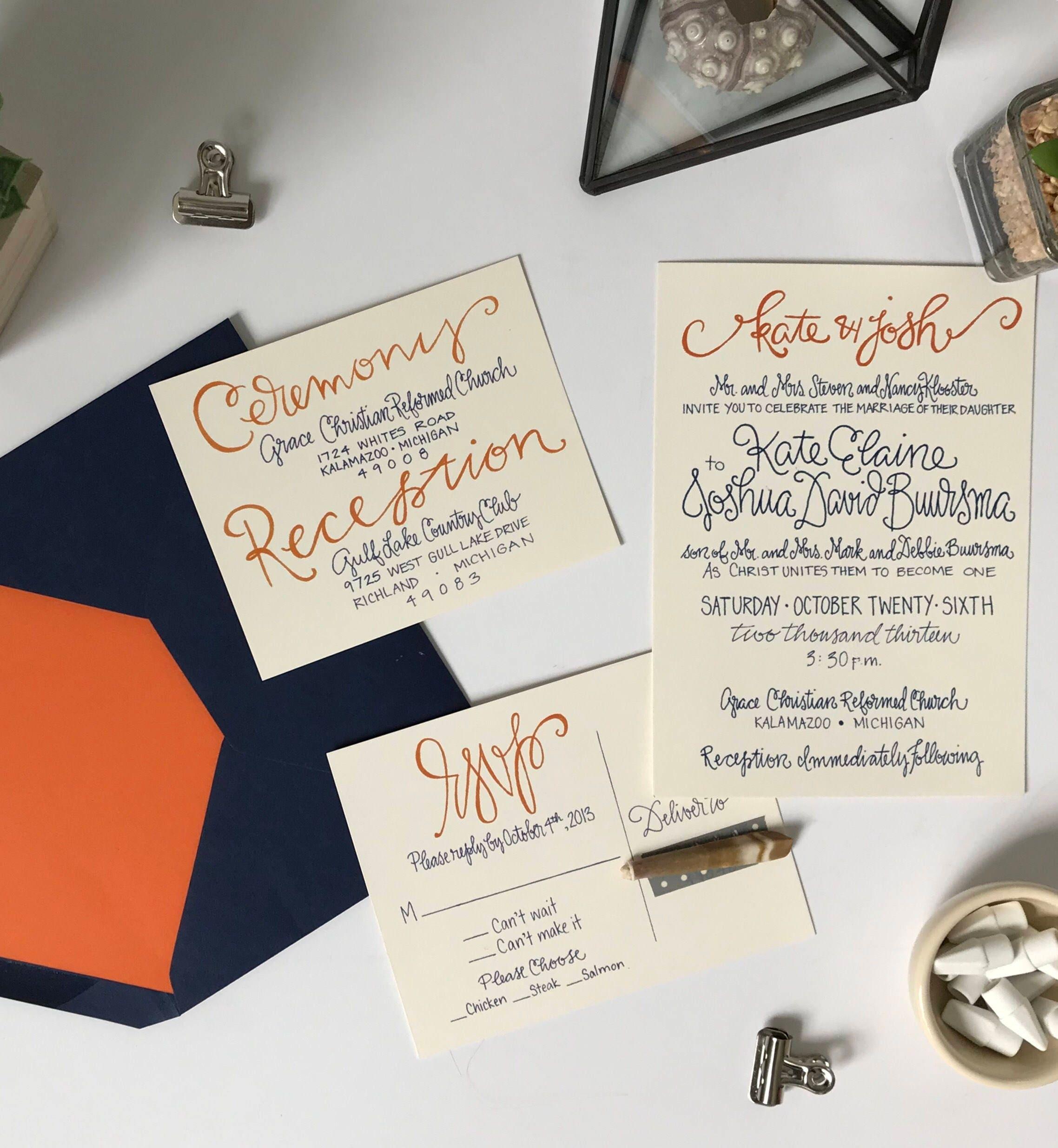 navy and orange wedding invitation suite navy and orange