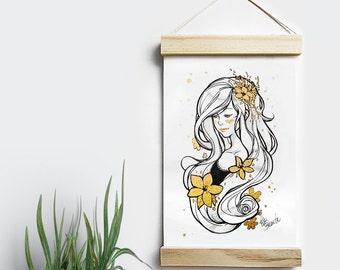 Rapunzel - Ilustración 15 x 20 - Con acabado oro