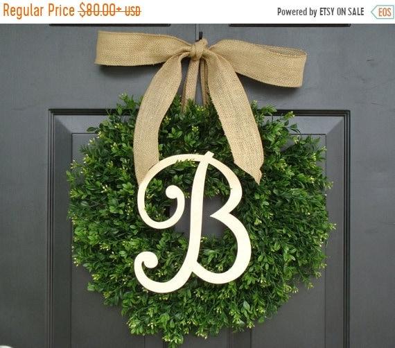 SUMMER WREATH SALE Monogram Boxwood Wreath, Fall Monogram Wreath with Burlap Bow, Housewarming Gift, Wedding Wreath 16- 24 Inch Available