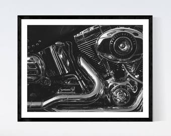 Harley Heritage Softail Engine Close up Black and White Fine Art Print,Wall Decor, Wall Art, Gift Ideas,
