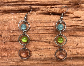 Blue Green Multi Colored Tiered Glass Bead Earrings