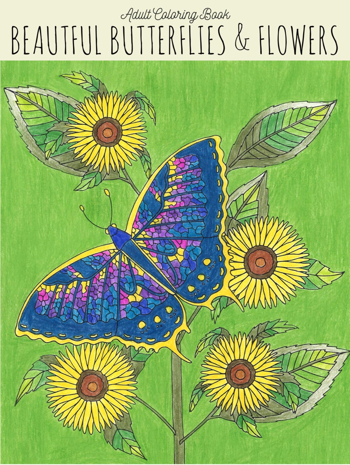 Adult Coloring Book Beautiful Butterflies & Flowers Coloring