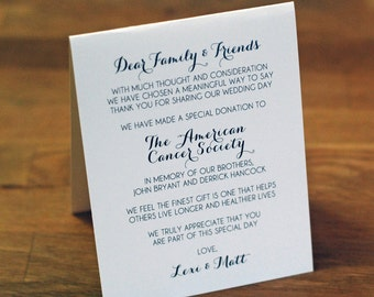 """Wedding Favor - Thank You Cards - Wedding Thank You - Tented Wedding Favor - Charity - Donation - Non Profit - 5.5""""x4.25"""" - Calligraphy"""