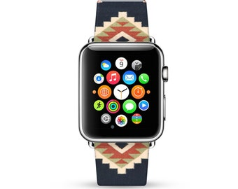 Navajo pattern Apple Watch Band 38mm, 42mm for Series 1, 2 & Series 3, Apple Watch Strap genuine Calf Leather Wrist Band with Metal Adapter