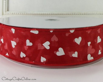 "Wired Ribbon, 1 1/2"" , Valentine Red Sheer with White Hearts - THREE YARDS - ""Tossed Hearts"" Valentine's Day Craft Wire Edged Ribbon"
