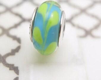 Pandora  Murano Charm  Aqua /Green Swirly Swirl 790673 Pre Loved Condition